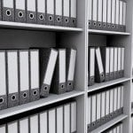 Files on bookshelves
