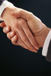 handshake woman and man